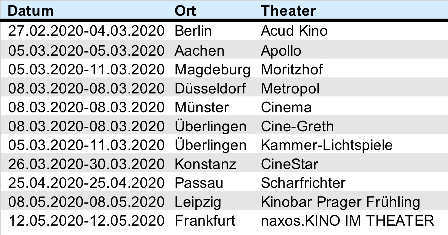 Screenings 27-2-20
